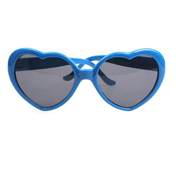Blue Heart Eyes Oversized Sunglasses