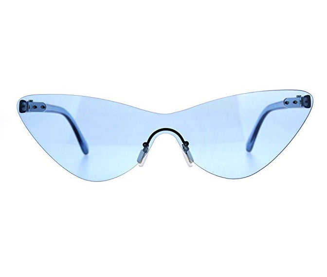 Blue Frameless Cat Eye Glasses