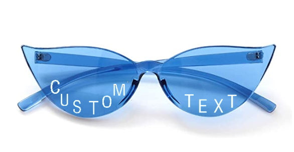 Custom Text Blue Cat Eye Sunglasses