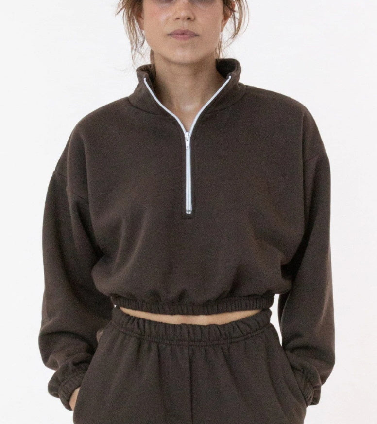 Cropped Fleece Half Zip Sweatshirt (Half Zip Available in Eight Colors)