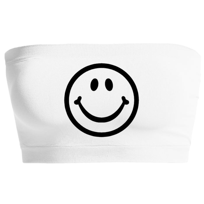 Custom Smiley Face White Seamless Bandeau- Customize Your Smiley Face Color!
