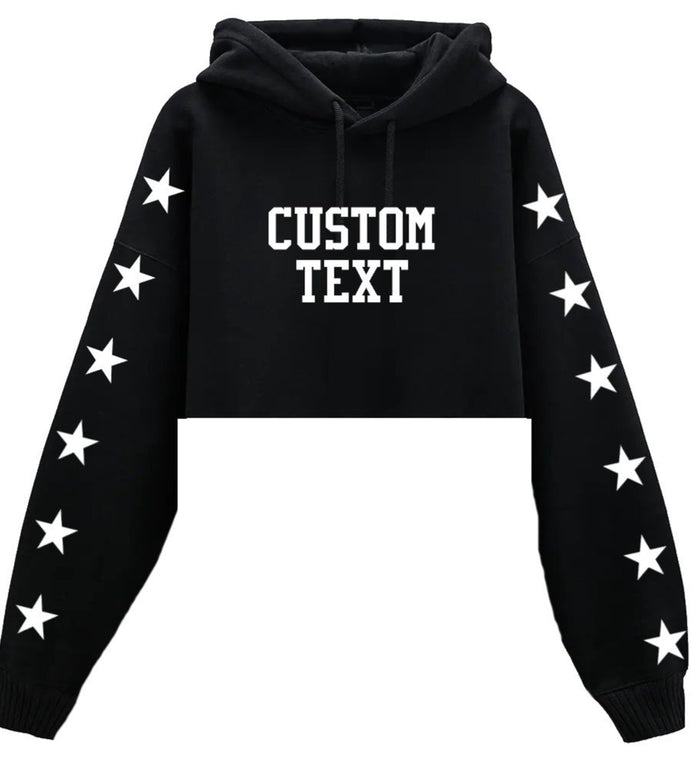 Custom Cropped Star & Text Hoodie - Customize Your Star & Text Color!