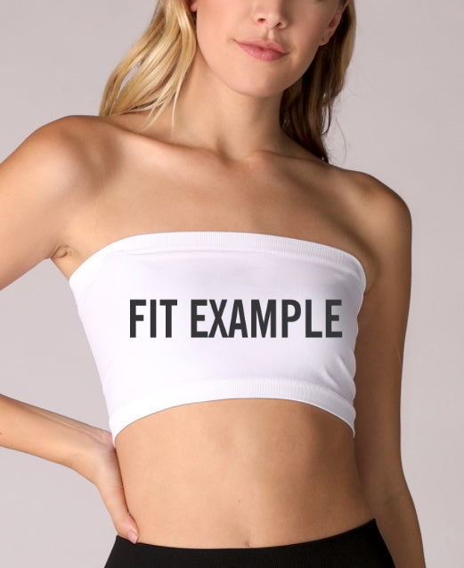 Custom Double Color Text White Seamless Bandeau