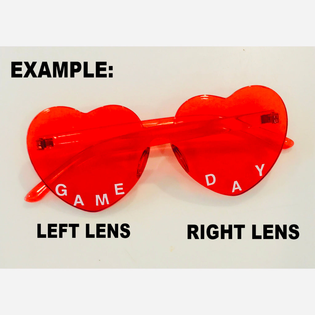 Custom Text Heart Shaped Candy Colored Sunglasses (12 Colors Available)