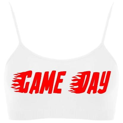 Game Day Flames Seamless Spaghetti Strap Super Crop Top (Available in Two Colors)