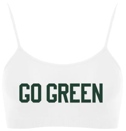 Go Green Spaghetti Strap Super Crop Top