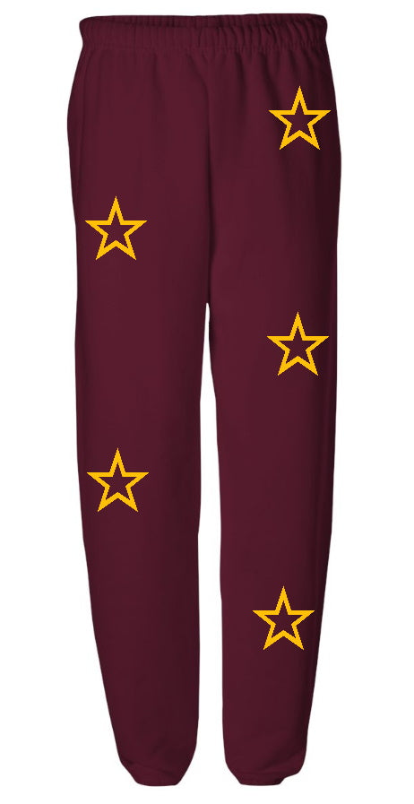 Star Power Maroon Sweatpants with Gold Stars
