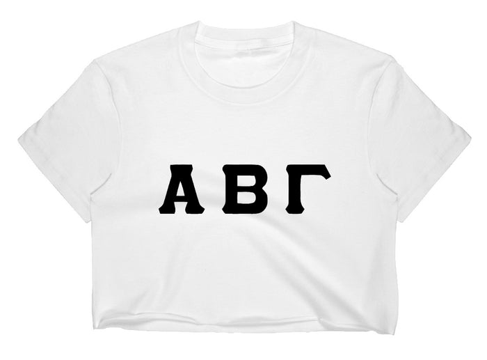 Custom Single Color Greek Letter Raw Hem Cropped Tee (Available in 2 Colors!)