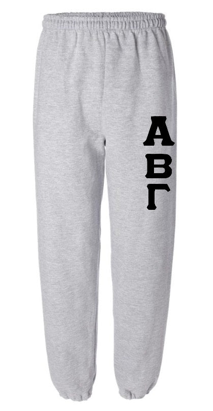 Custom Single Color Greek Letter Sweatpants (Available in 10 Colors!)