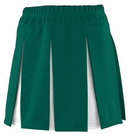 Black Friday Green & White Flat Pleat Cheer Skirt