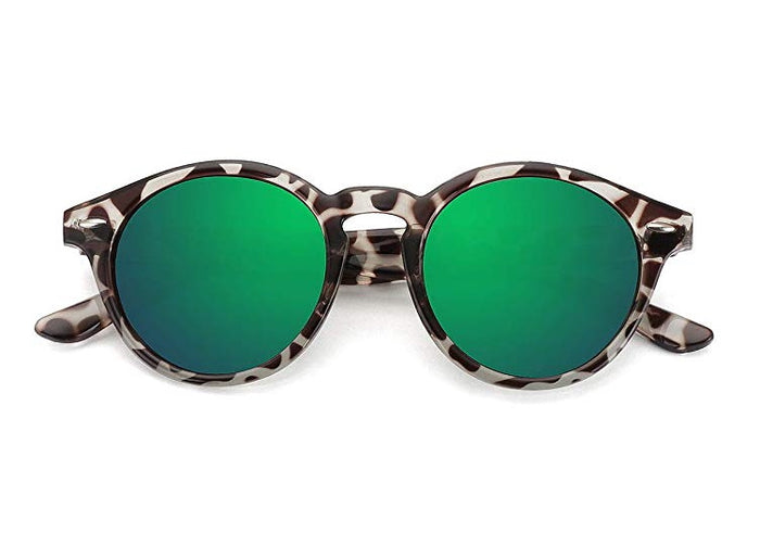 Leopard Print Round Mirrored Sunglasses