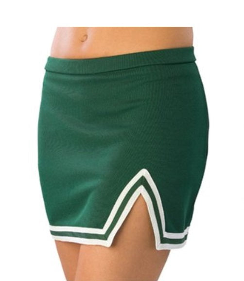 Custom Double Color Text Gameday Bae Signature Classic Green A-Line Notched Cheer Skirt