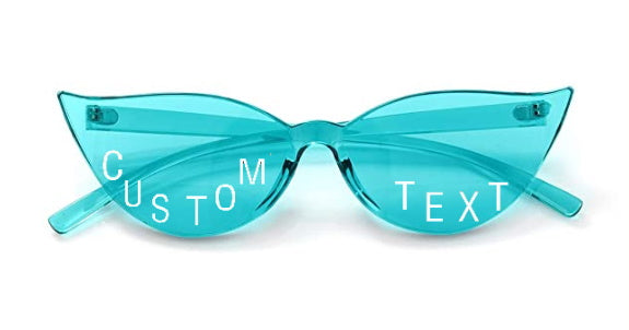 Custom Text Light Blue Cat Eye Sunglasses