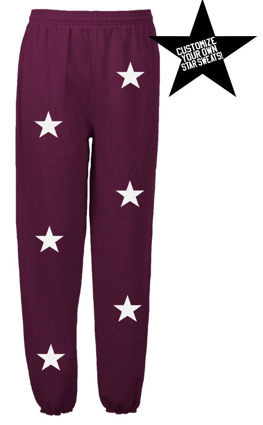 Custom Maroon Star Sweatpants- Customize Your Star Color!