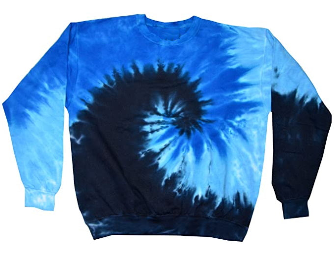 Black Friday Blue Multi Color Swirl Tie Dye Crew Neck Sweatshirt
