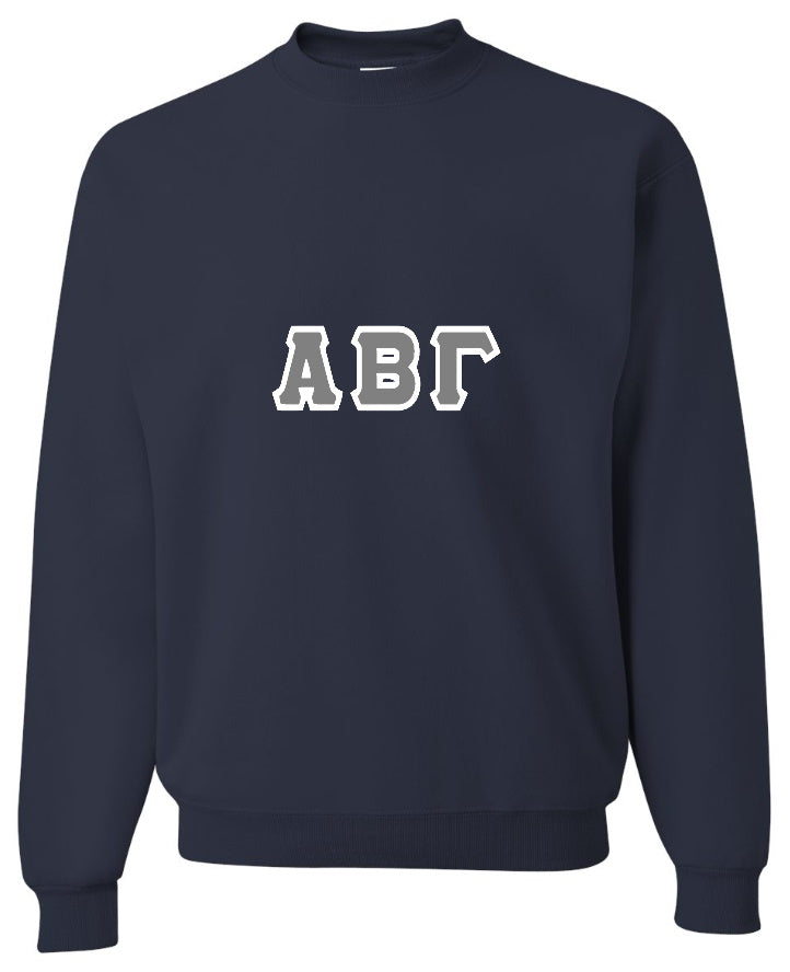 Custom Double Color Greek Letter Crewneck Sweatshirt (Available in 25 Colors!)
