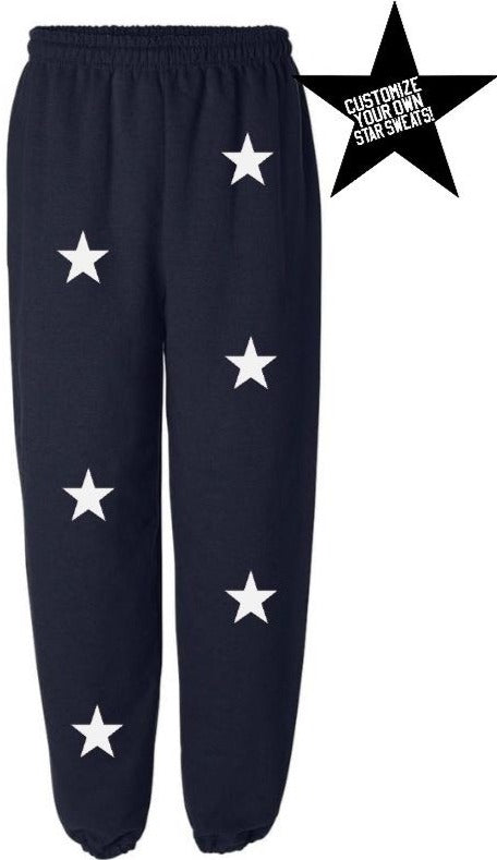 Custom Navy Star Sweatpants- Customize Your Star Color!