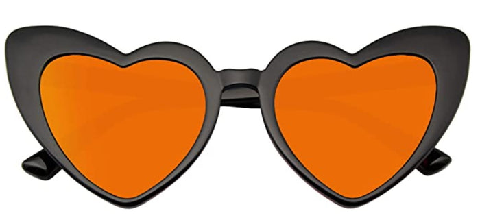Orange & Black Heart Shaped Glasses