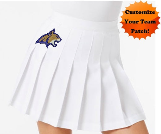 Custom Team Patch Classic White Pleated Cheer Skirt