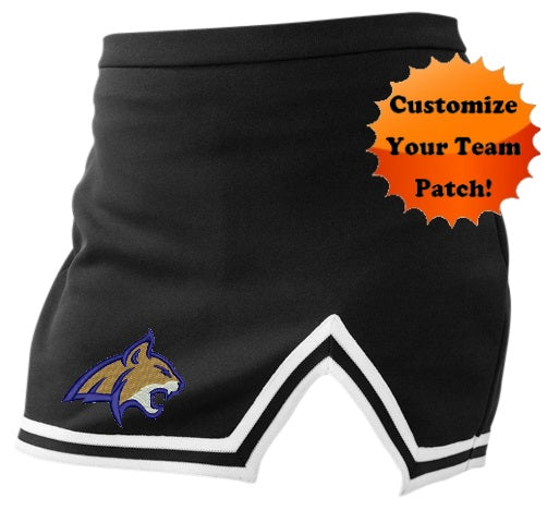 Custom Team Patch Black A-Line Notched Cheer Skirt (Available in 8 Colors)