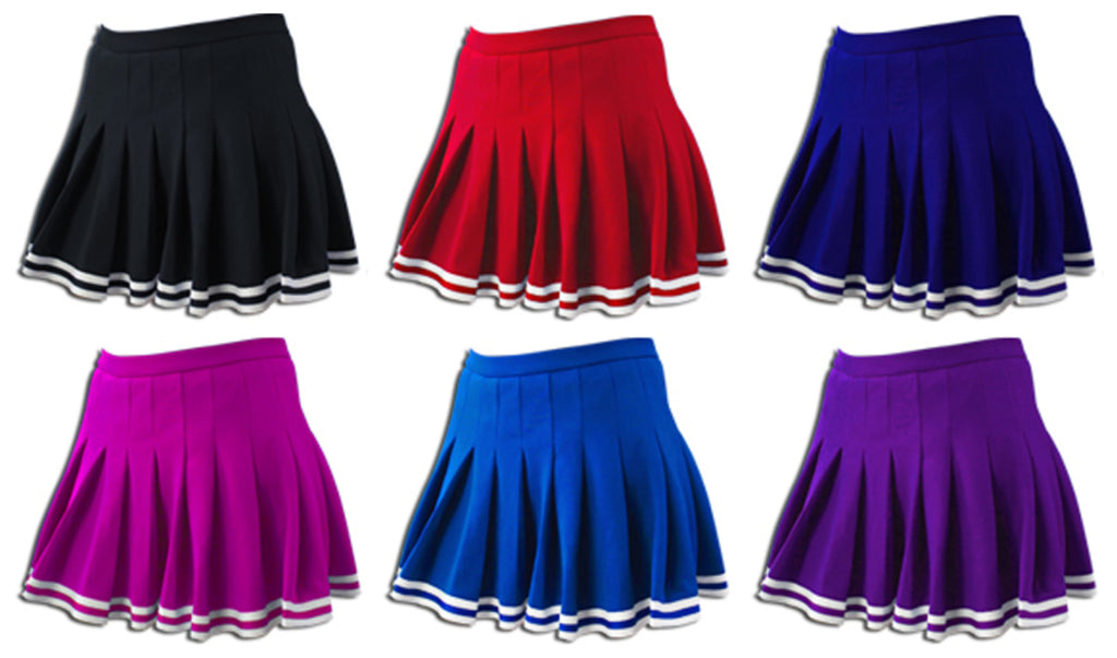 Custom Team Patch Sparkle Trim Pleated Cheer Skirt(Available in 7 Colors)
