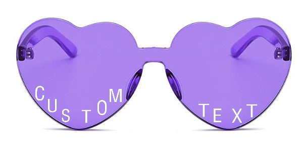 Custom Text Purple Heart Shaped Candy Colored Sunglasses