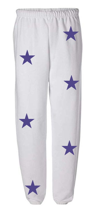 Star Power White Sweatpants with Purple Stars