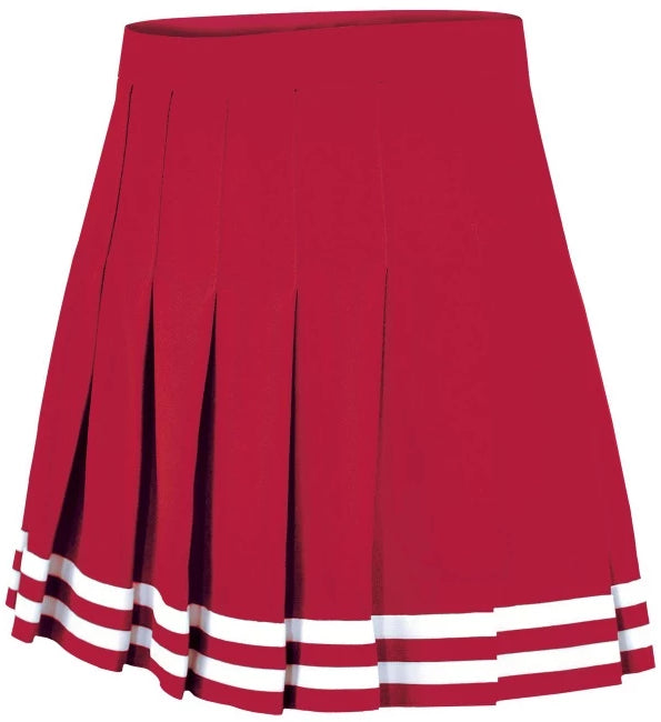 Red Flat Pleat Traditional Cheer Skirt