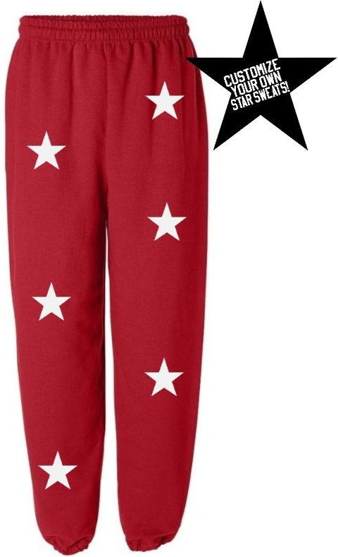 Custom Red Star Sweatpants- Customize Your Star Color!