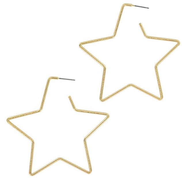 Shining Star Hoop Earrings (Available in Gold & Silver)