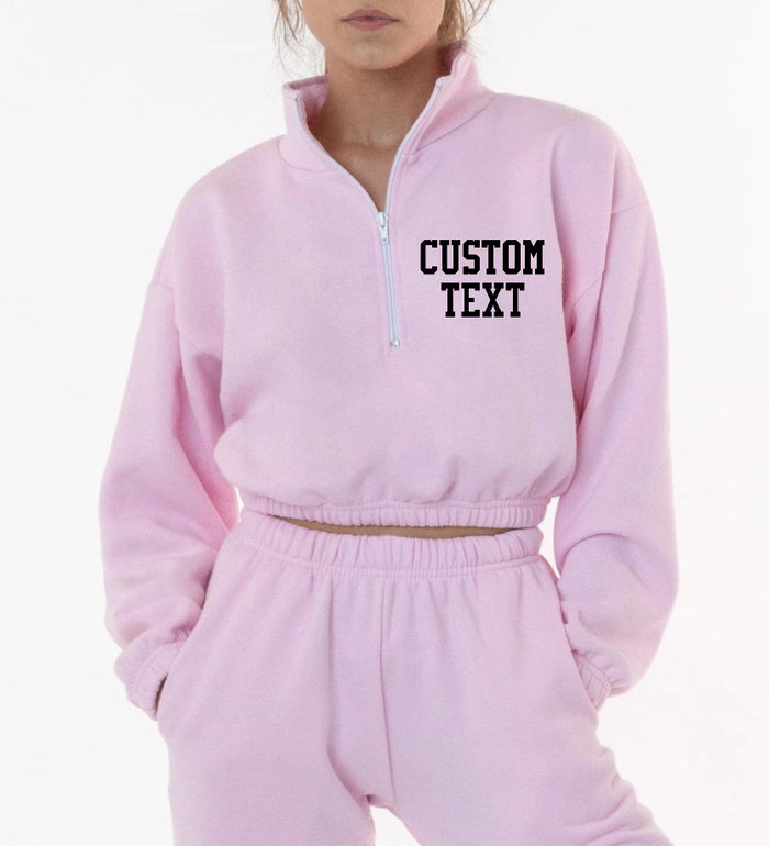 Custom Text Cropped Fleece Half Zip Sweatshirt (Half Zip Available in Eight Colors)