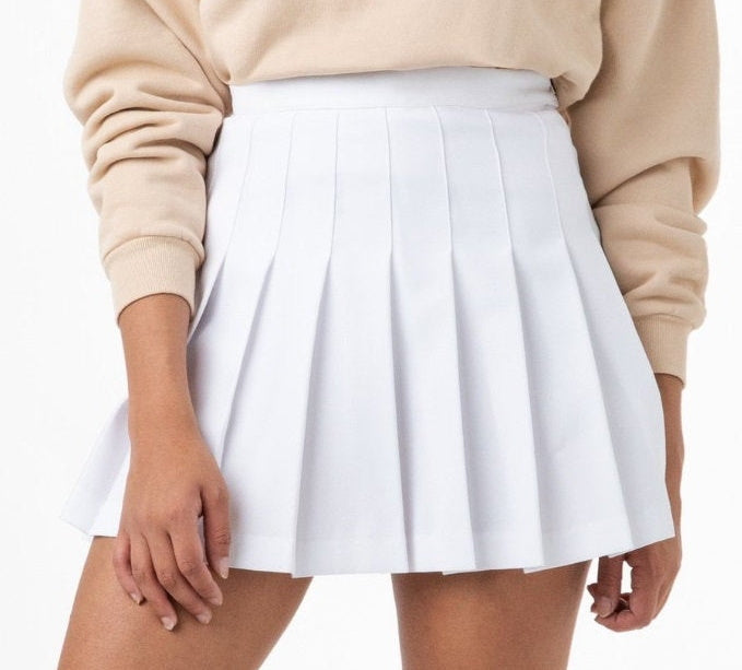 Classic White Pleated Cheer Skirt