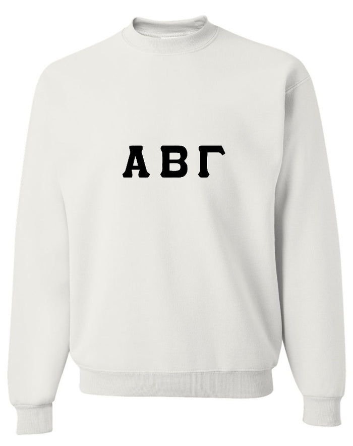 Custom Single Colored Greek Lettered Crewneck Sweatshirt (Available in 25 Colors!)