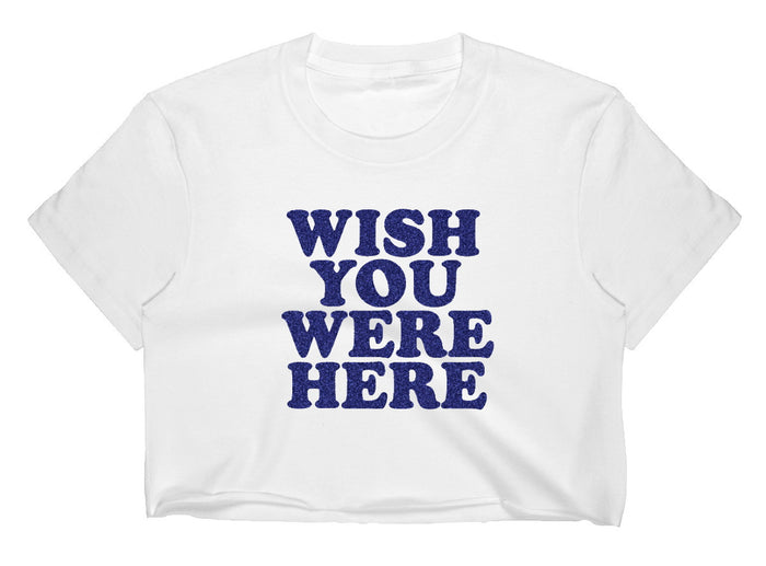 Wish You Were Here Glitter Raw Hem Cropped Tee