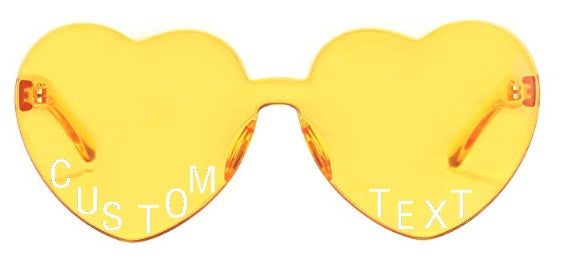 Custom Text Yellow Heart Shaped Candy Colored Sunglasses