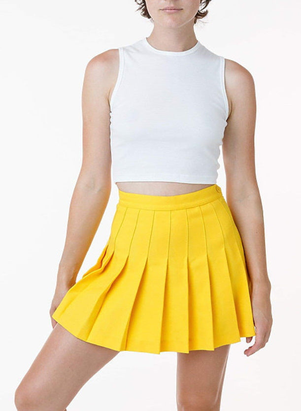 Custom Single Color Text Gameday Bae Classic Yellow Pleated Cheer Skirt