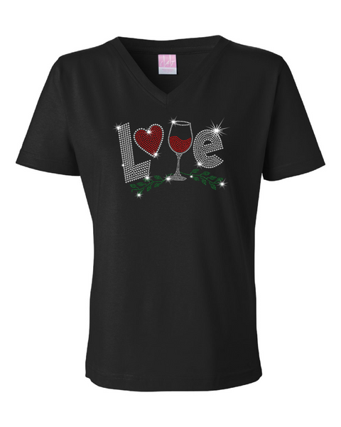 Love Wine Short Sleeve V-Neck Shirt