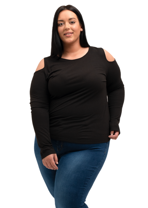 Plus Size Ladies Long Sleeve Cold Shoulder Top