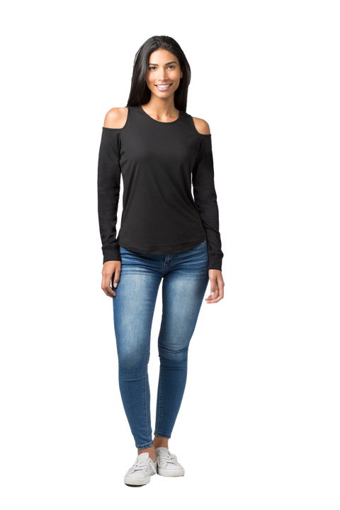 Ladies Long Sleeve Cold Shoulder Top