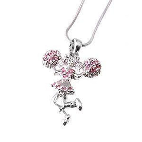 Pink Rhinestone Cheerleader Necklace