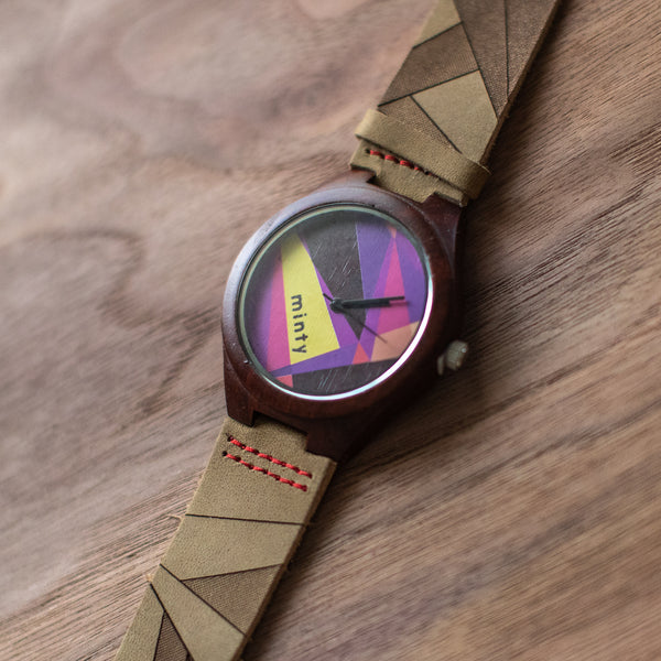 Wood + Leather Designer Watches: Neon