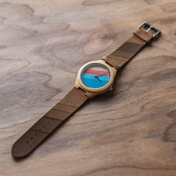 Wood + Leather Designer Watches: California Sunset