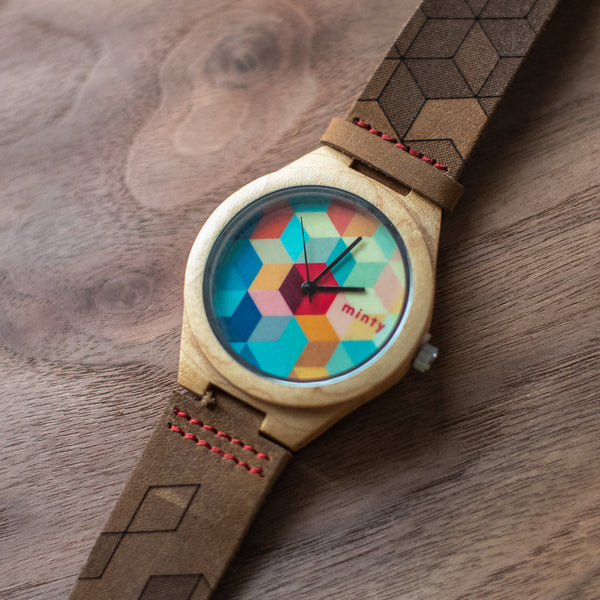 Wood + Leather Designer Watches: Cubed