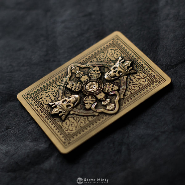 Roses Antique Gold Metal Card