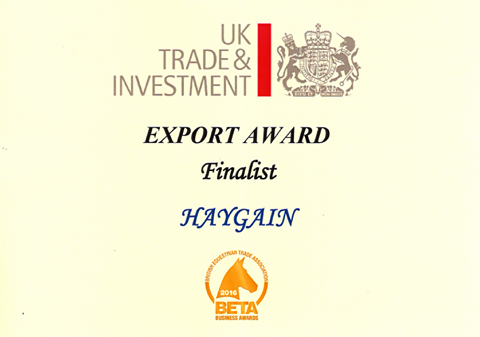 Nomination as UKTI Export Award Finalist