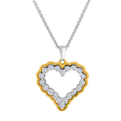 Diamond Heart Framed in 14kt. Yellow Gold 1.5ctw