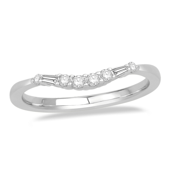 Curved Center Round Baguette Anniversary Ring