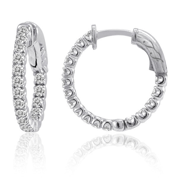 4 Prong Diamond Hoops. In & Out Secure Lock 1.0ct .75""