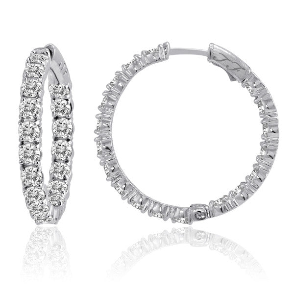 4 Prong Diamond In & Out Hoops 2.0ctw 1""