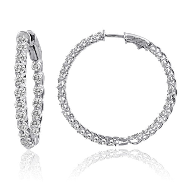"Diamond Hoops 5.0ctw 1.25"" In & Out Trellis Setting 14kt."
